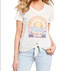 NWT Jessica Simpson Tie Front Graphic Tee